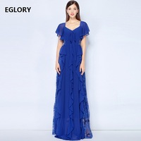 Super Quality New 2018 Wedding Party Women Long Dresses Lady Sexy Backless Hollow Out Lace Patchwork Purple Blue Maxi Dress