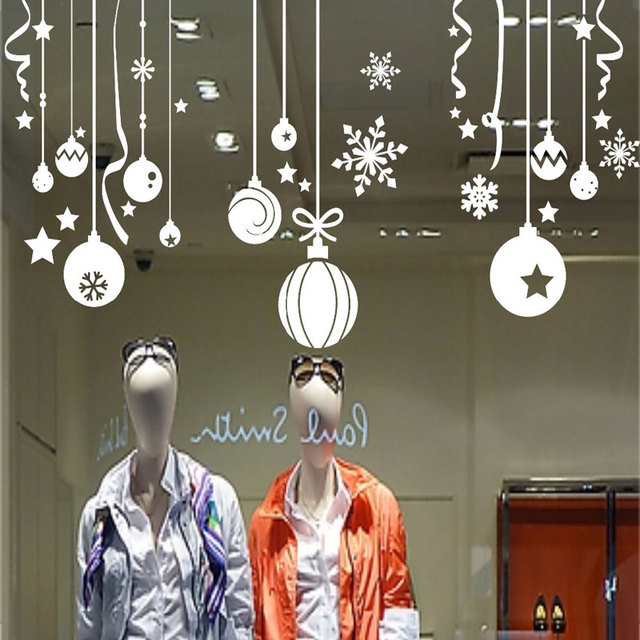 free shipping christmas ball wall stickers snowflake bells hanging chain wall decals glass sticker home - Christmas Decals For Glass