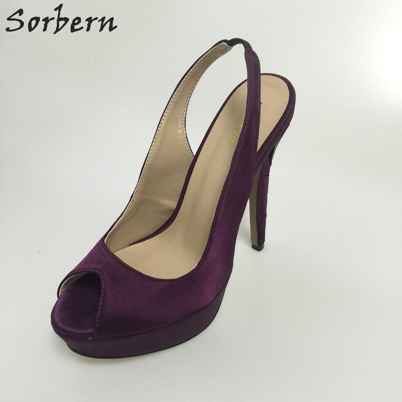 Sorbern Custom Color Wedding Shoes Grape Silk Slingbacks