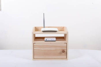 Wooden Desk Organizer Wifi Router Storage Box Shelf Cable Holder Cord Outlet Board Container Wire Safety Tidy Home Office