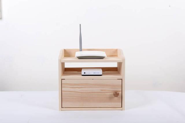 En bois organisateur de bureau wifi routeur boîte de rangement