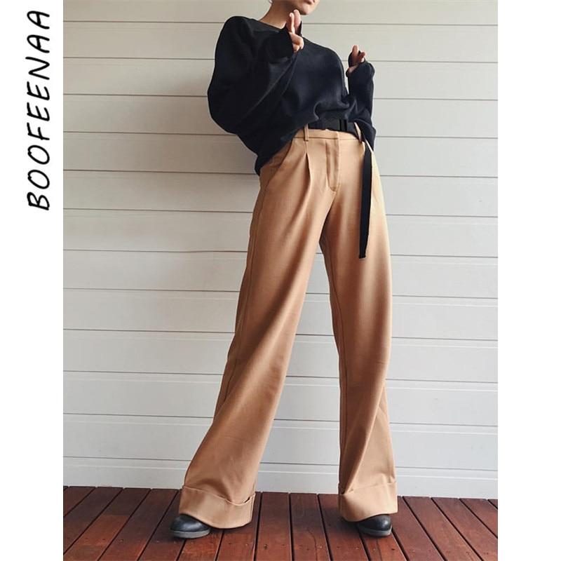 BOOFEENAA Khaki Black High Waist   Wide     Leg     Pants   with Belt High Street Fashion Flare Trousers Loose Palazzo   Pants   C87-AI62