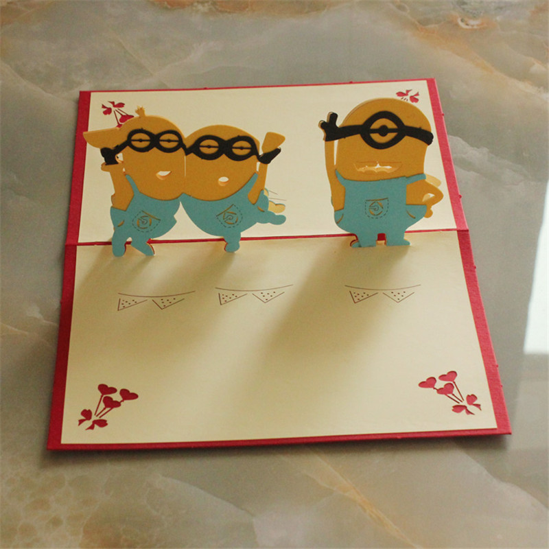 Mini cute man anime 3d paper laser cut pop up kids birthday greeting mini cute man anime 3d paper laser cut pop up kids birthday greeting cards gifts wishes postcards crafts 1015cm in cards invitations from home garden m4hsunfo
