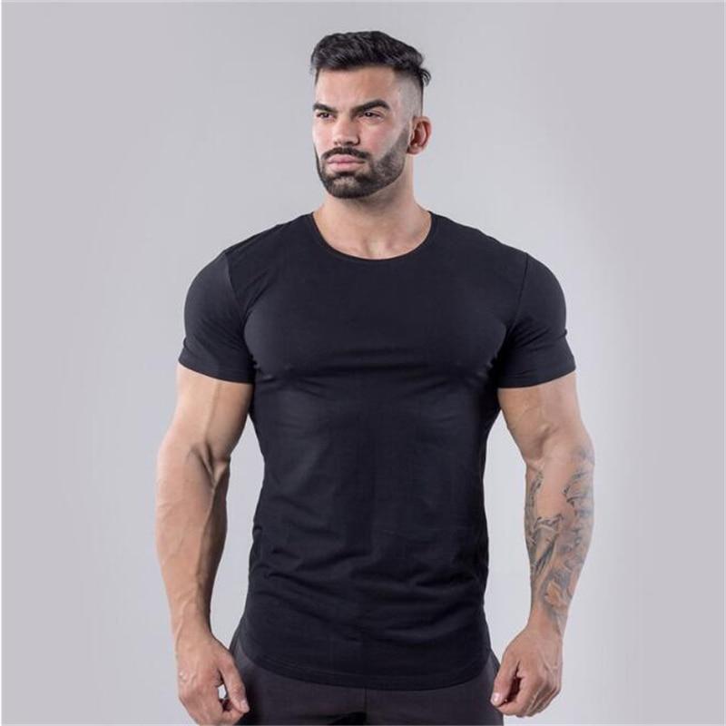 Muscleguys Brand Men's Fitness Short Sleeve T-shirts Cotton Gyms T Shirt Plain Arc Hem Breathable Stretch Slim Fit Tee Shirts