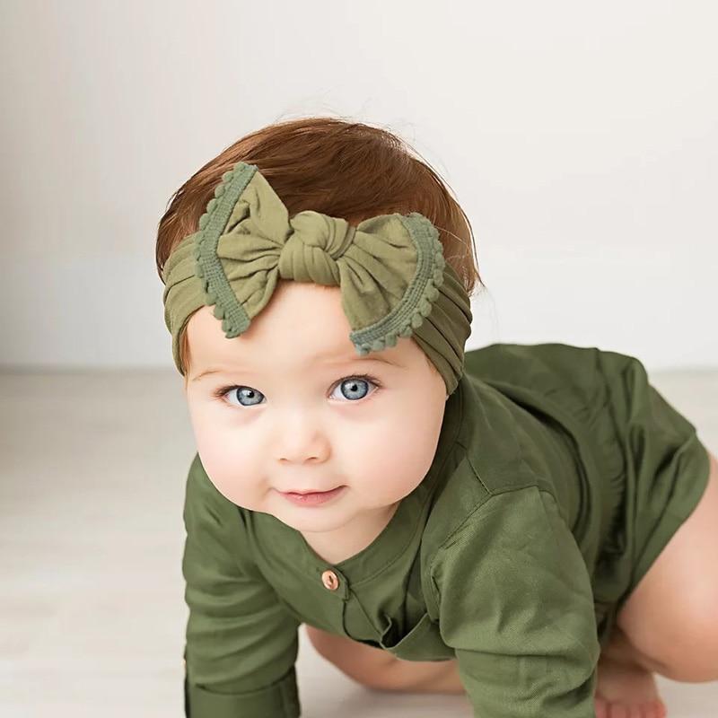 Детские головные повязки MIXIU, мягкие нейлоновые Детские головные повязки с бантом для маленьких девочек, аксессуары для волос для новорожде...