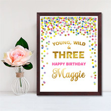 Three Birthday Customize Printable Poster Colorful Dot Nursery Decor Baby Girl Art Gift