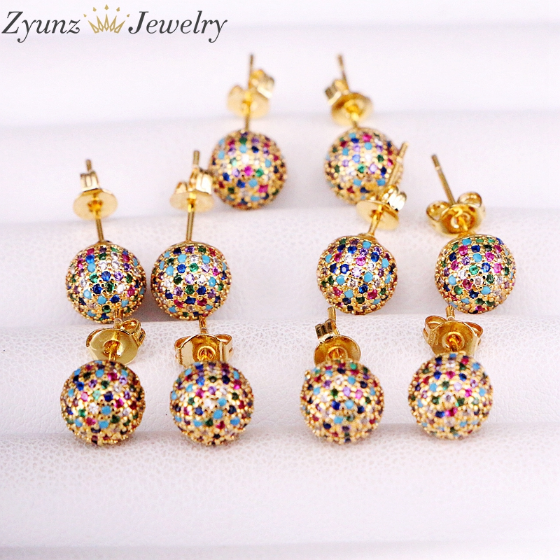 5 Pairs 8mm/10mm Golden Color Copper Multicolor Cubic Zirconia  Round Disco CZ Ball Stud Earrings Womens Party Fashion JewelryStud  Earrings