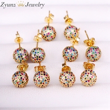5 Pairs 8mm/10mm Golden Color Copper Multicolor Cubic Zirconia Round Disco CZ Ball Stud Earrings Womens Party Fashion Jewelry