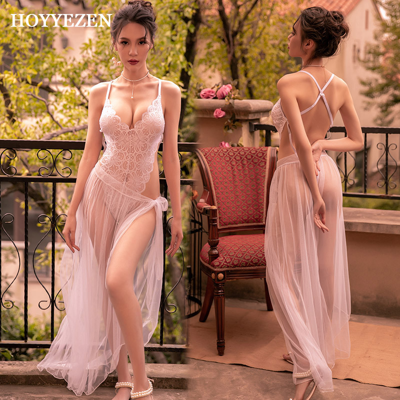Hoyyezen Sexy Woman New Lace Strap Nightdress Over The Knee Long Nightdress Plus One-piece Slim Hollow Two-piece Pajamas