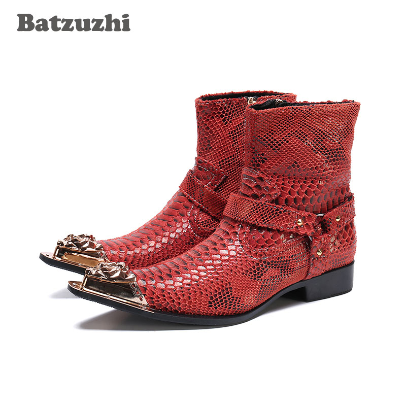 Batzuzhi Western Cowboy Boots Men Pointed Metal Tip Red Genuine Leather Ankle Boots Men Motorcycle Botas Hombre, Pluz Sizes 46Batzuzhi Western Cowboy Boots Men Pointed Metal Tip Red Genuine Leather Ankle Boots Men Motorcycle Botas Hombre, Pluz Sizes 46