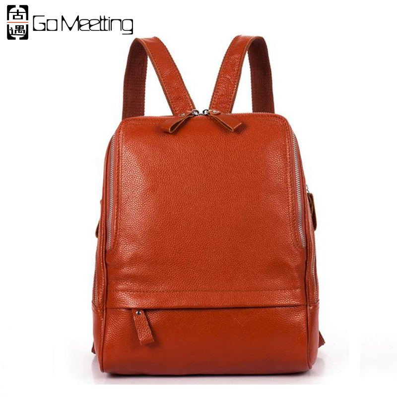 Go Meetting Genuine Leather Women's Backpack Preppy Style Cow Leather Women Shoulder Bag High quality School Travel Backpacks go meetting fashion women waterproof oxford backpack famous designers brand shoulder bag leisure travel backpacks for girl