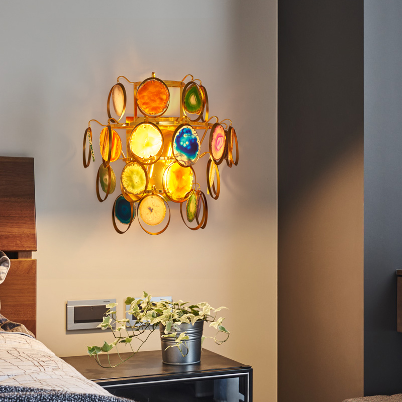 Modern LED Wall Light Sconce Agate Bedroom Bedside Living Room Stair Aisle Hotel Lamp Lights Home Deocr Lamps Sconces