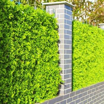 BOJ Artificial para exterior, setos de seguridad privada, plantas 10x10 pulgadas, a prueba de rayos UV, plástico verde falso, cerca de hojas para decoración de paisajismo