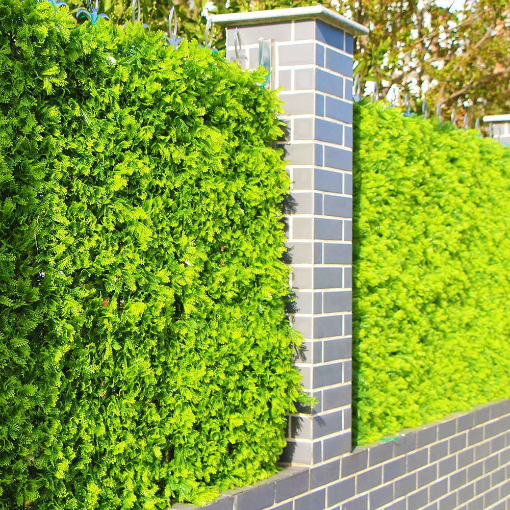 Outdoor Artificial Boxwood Privcy Hedges Plants 10x10 Inches UV Proof Plastic Green Faux Leaf Fence Landscaping Decortaions