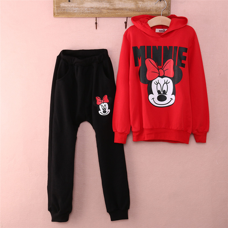 Kids Baby Girls Kids Cartoon Minnie Mouse Long Sleeve Hooded Tops Long Pants Tracksuits Autumn Winter Baby Girls Clothes Sets
