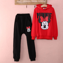 Kids Baby Girls Cartoon Minnie Mouse Long Sleeve Hooded Tops Pants Tracksuits Autumn Winter Clothes Sets