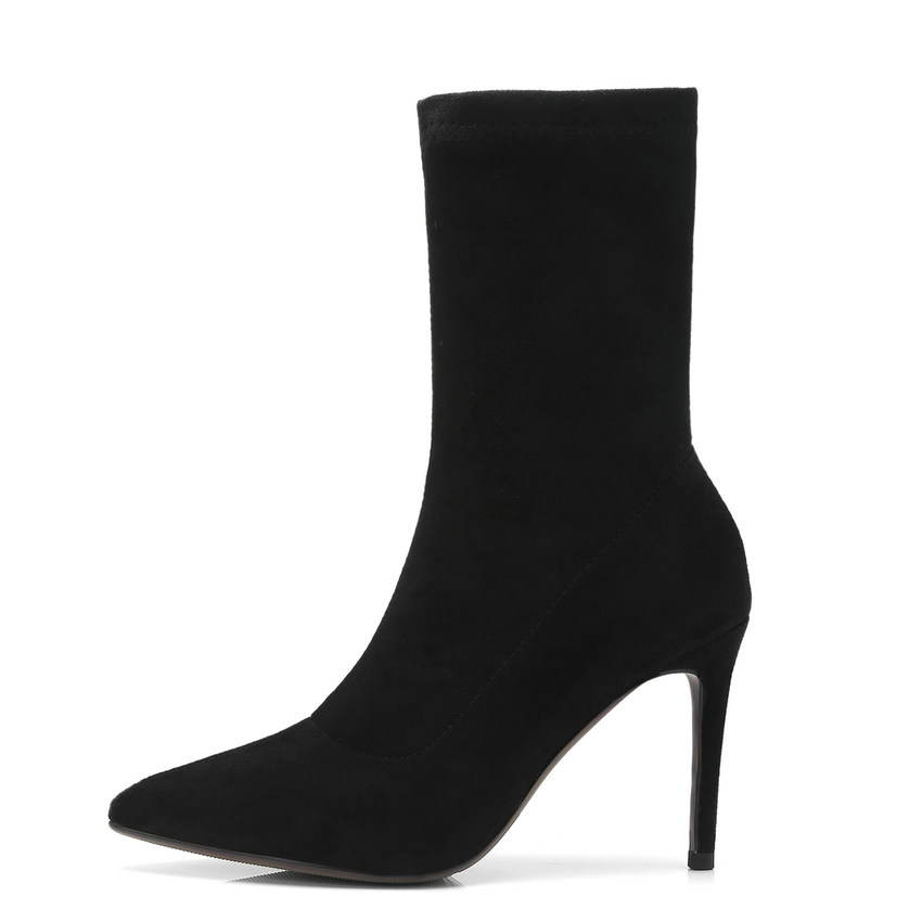 QUTAA 2020 امرأة منتصف العجل أحذية الشتاء الأحذية رقيقة عالية الكعب الحياكة + جلد جورب أحذية السيدات دراجة نارية الأحذية حجم 34 39-في أحذية منتصف ربلة الساق من أحذية على  مجموعة 2