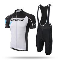 New Men White Short Cycling Set Pro Team Short Sleeve Quick Dry Jersey Shirt GEL Pad