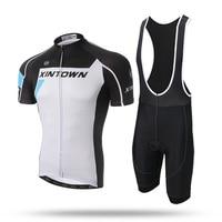 New Men White Short Cycling Set Pro Team Short Sleeve Quick Dry Jersey Shirt GEL Pad