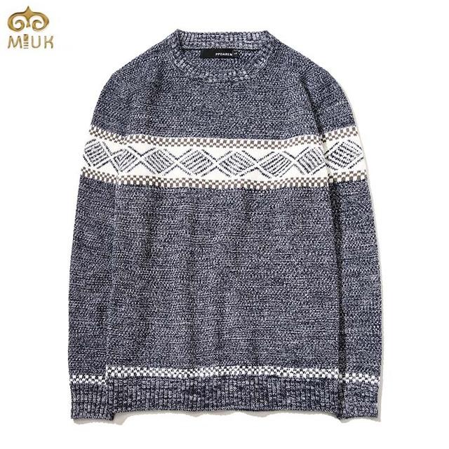 Miuk estilo nacional de gran tamaño de impresión suéter hombres 5xl 4xl marca de Ropa Suéter de Los Hombres 2 Color Gris Azul Suéter De Navidad 2017 nueva