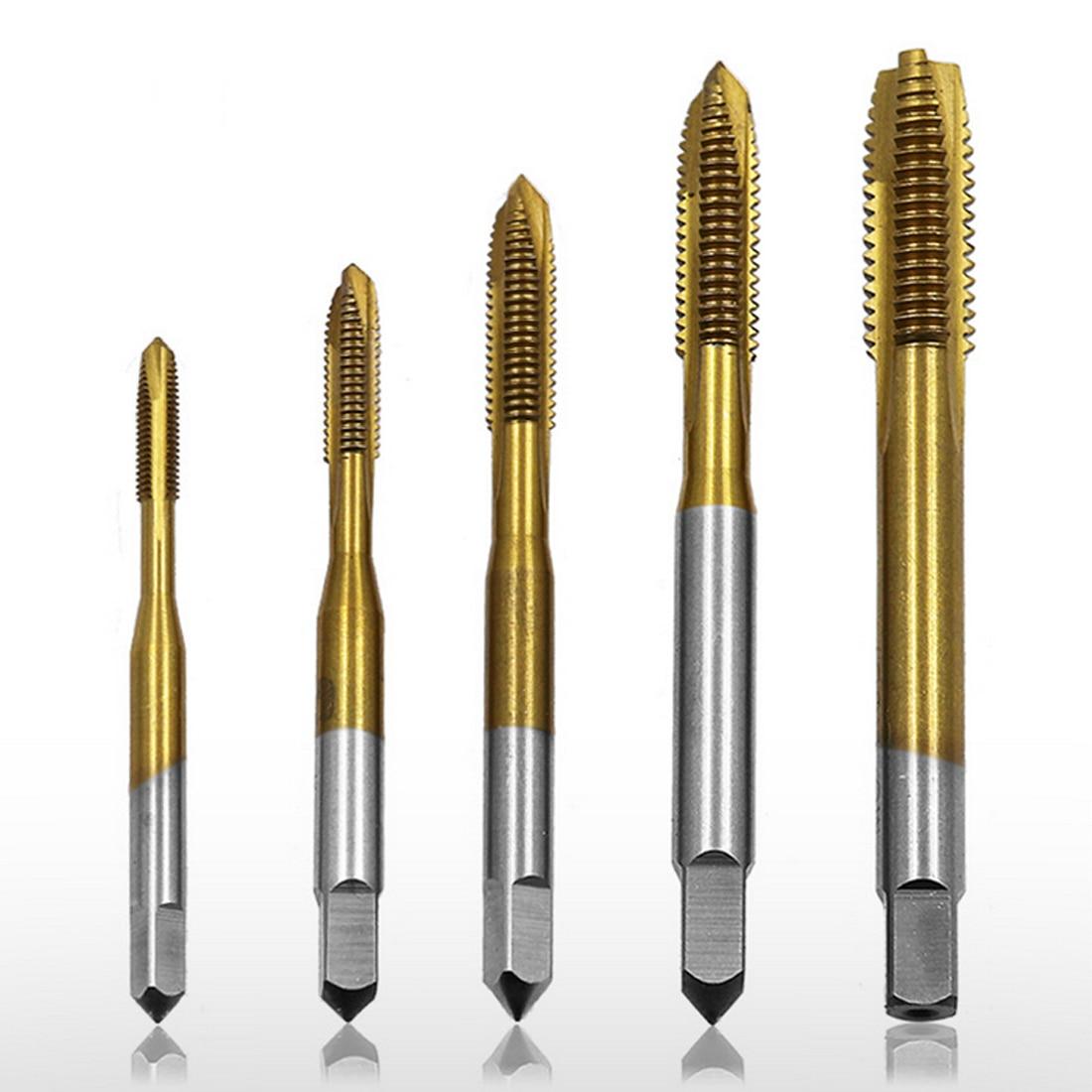 1pcs/5pcs Titanium Coated Thread Tap Drill Metric Hss Spiral Fluted Machine Screw Tap Spiral Pointed Taps M3 M4 M5 M6 M8