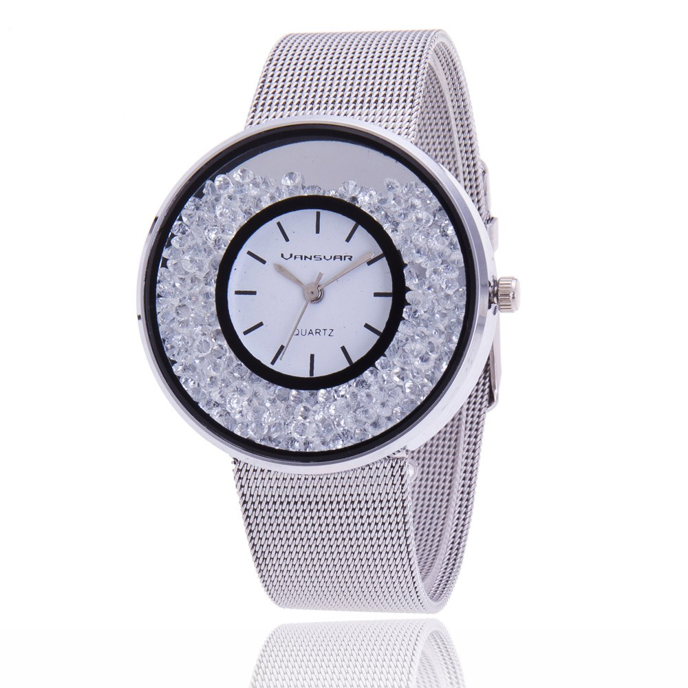 Women Rhinestone Watch in Stainless Steel Silver