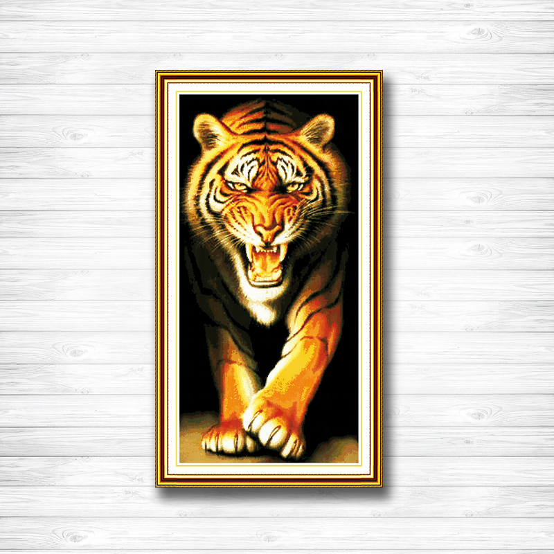 Genteel King Of The Monsters Tiger Animal Decor Counted Printed On Canvas Dmc Embroidery Sets 14ct 11ct Dms Cross Stitch Needlework Kits Promoting Health And Curing Diseases Arts,crafts & Sewing Home & Garden