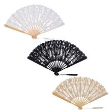 Folding Held Fan Pattern Dance Wedding Party Lace Hand Flower abanicos para boda