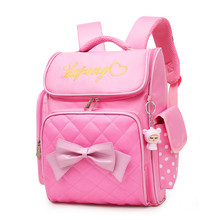 Купить с кэшбэком Lovely Princess School Bags Orthopedic Backpack for Girls bow ties Printing School Bags for Children travel bags Mochila Escolar