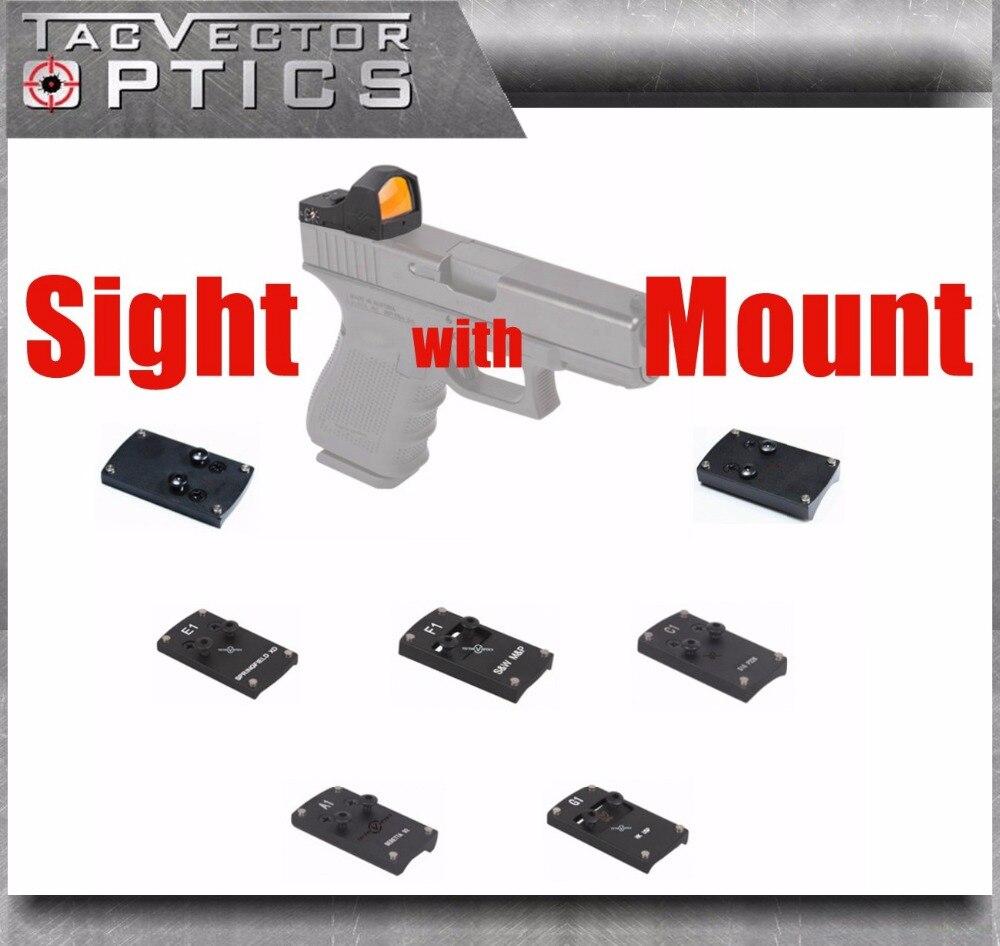 Vecteur optique Sphinx point rouge vue avec pistolet support arrière pour GLOCK 17 19 SIG SAUER BERETTA Springfield XD S & W M & P HK USP 1911