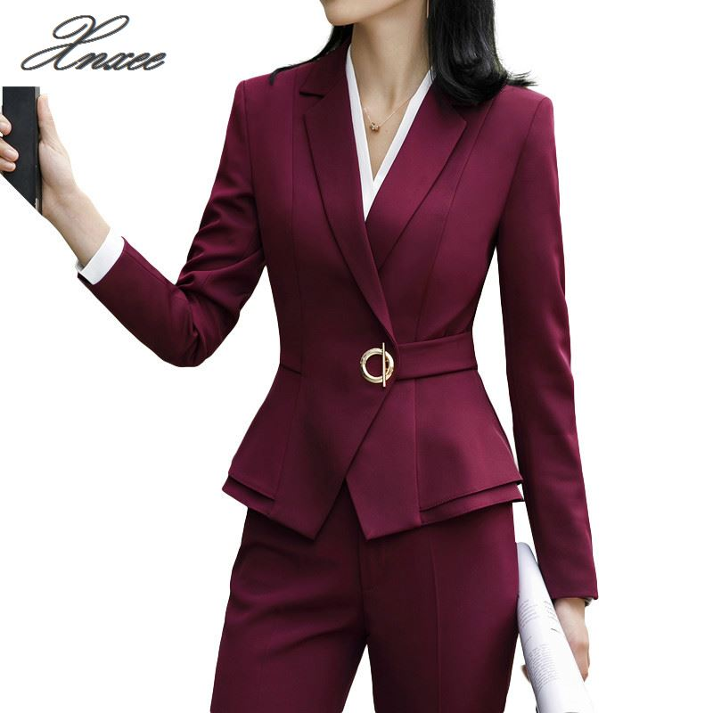 Winter Suit For Women Two Pieces Set Formal Long Sleeve Slim Blazer And Trousers Office Ladies Plus Size Work Wear