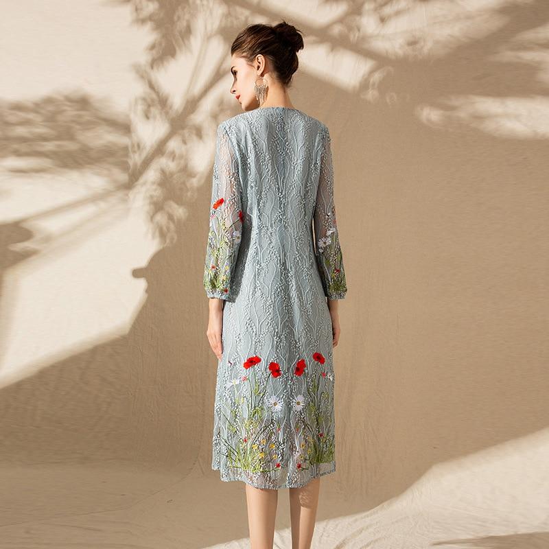 Automne Élégante Dames Taille V Dentelle Robe Nouveau Vintage Vêtements Robes 2019 Lon cou Bleu Xxl Fleur Femmes Broderie rose La Plus Printemps Qhrdst