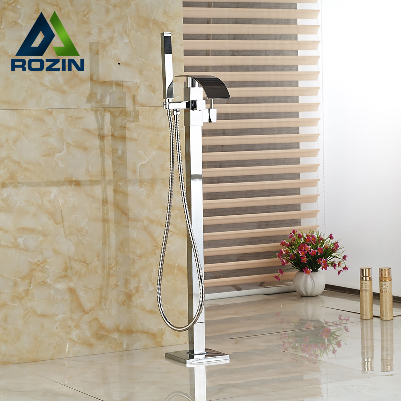 Polished Chrome Floor Mounted Bathtub Faucet with Hand shower Free Standing Waterfall Tub Mixer Tap Free Standing