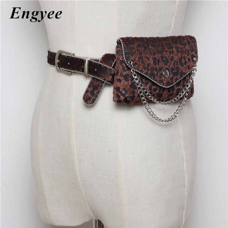 Engyee Luxury Fanny Pack Ladies Waist Pocket Money Phone Pouch Bags For Women Fashion Leopard Chain Belt Bag Hip Waist Pack