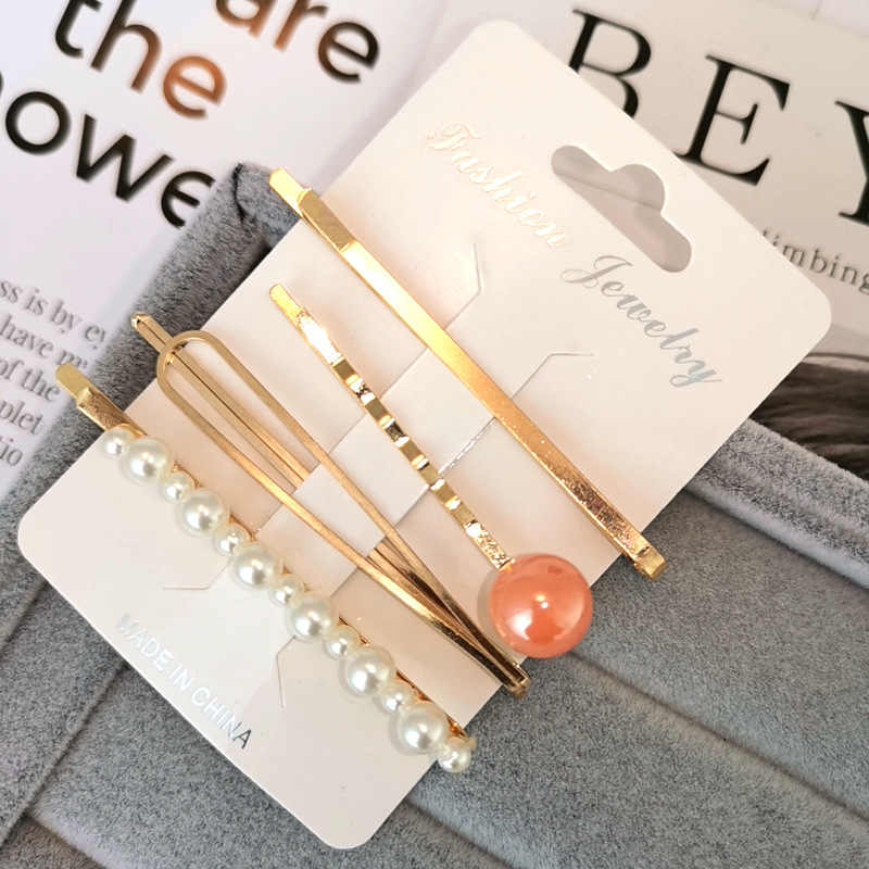4Pcs/Set Korea Fashion Metal Hairpins Imitiation Pearl Colorful Beads Hair Clips for Women Irregular Geometric Hair Accessories