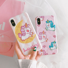 Lucky horse cartoon case phone for xr iphone 8 7 plus Lozenge grid pattern cute cover girls x xs max i10