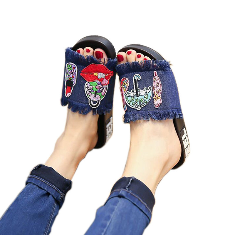 2018 New Women Slippers Novel Fashion Summer Slides Casual Platform Beach Flip Flops Female Indoor Denim Slipper Flat Shoes ms noki fashion solid string bead women slides flat with summer flip flops ladies slippers casual outside women platform slides