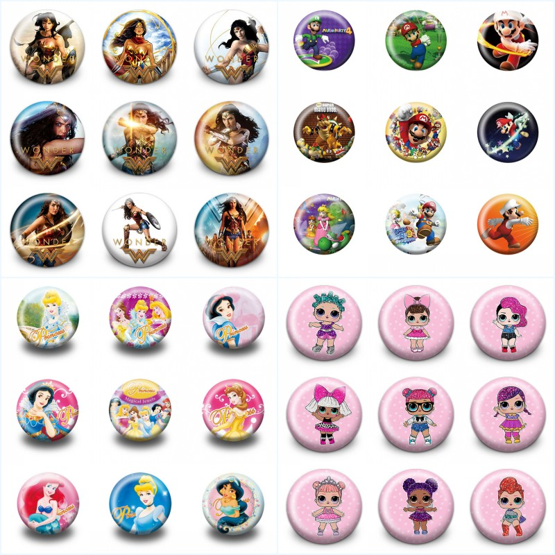 Badges Lovely 18pcs/lot Super Heroes Mario Moana Cartoon Accessory Badges Pins On Cloth/bag Decoration Buttons Brooch Kid Gift Party Supplies Home & Garden