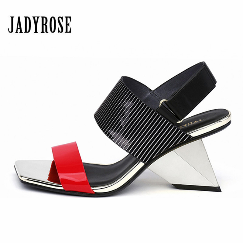 3e480bc40a6413 Jady D'été Femmes blanc Chaussures Sandales Noir Gladiateur Talon Stiletto  Feamle rouge Rose Designer Sexy Étrange Compensées ...
