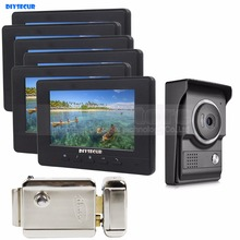 DIYSECUR 7 дюймов видеодомофон 700TV линия ИК ночного видения HD камера+ электрический замок для домашнего офиса Завод 1V6
