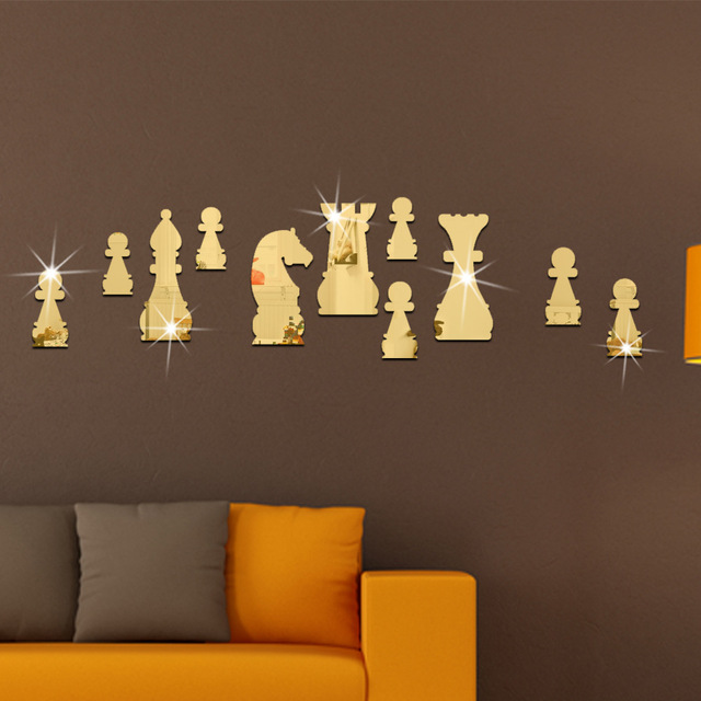 11pcs Set Fashion Home Decor International Chess Shape Mirror Wall Stickers Gold Silver Room Decorative