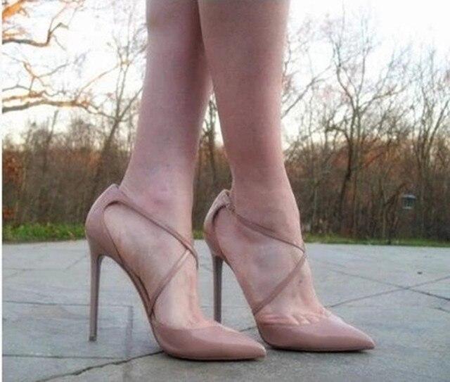 2017 Zapatos Mujer Tacon Бренд Обуви Женщина На Высоких Каблуках Женщины Насосы Стилет Тонкий Каблук женские Ню Острым Носом Размер 35-46