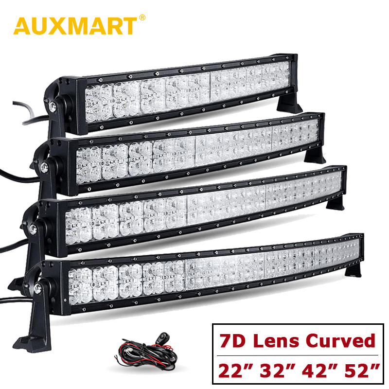 Auxmart 7D Lens Curved LED Light Bar with DRL 22 32 42 52 Spot + Flood Combo Offroad Light 12v 24v SUV 4x4 4WD Truck Trailer auxmart 3 row 22 34 42 50 curved led light bar auto 4x4 offroad led work light bar 12v 24v combo car lamp suv truck trailer