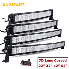 Auxmart 7D Lens Curved LED Light Bar with DRL 22″ 32″ 42″ 52″ Spot + Flood Combo Offroad Light 12v 24v SUV 4×4 4WD Truck Trailer