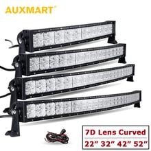 Comparación de precios Auxmart 7D lente curvada Barra de luz LED con DRL 22 32 42 52 Spot + Flood combo Offroad luz 12 V 24 V SUV 4x4 4WD camión remolque