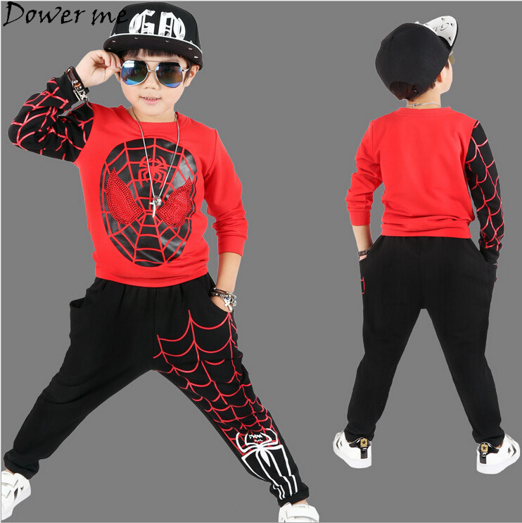 New Baby Boys Spring Autumn Spiderman Sports Suit 2 Pieces Set Tracksuits Kids Clothing Sets 110-150cm Casual Clothes Coat+Pant