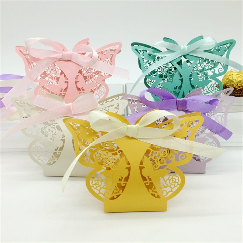 Laser Cut Vine Flower Butterfly Candy Boxes Souvenirs Wedding ...