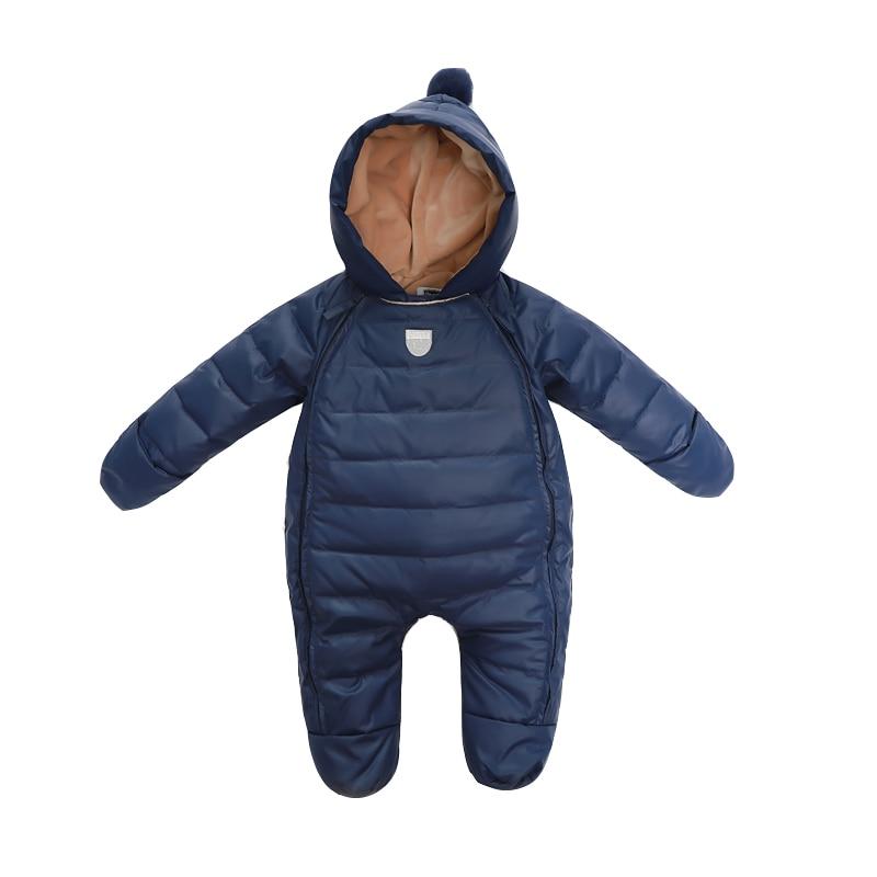 Детские комбинезоны для новорожденных для маленьких девочек Термальность утка вниз зимний комбинезон Детские Симпатичные капюшоном комби...