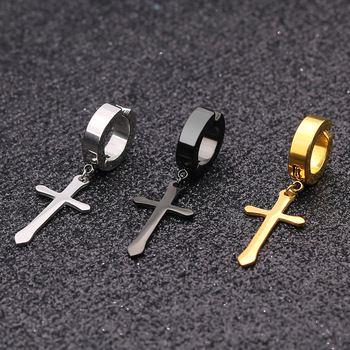 Stainless Steel Clip On Non Piercing Dropping Earrings For Women Men Black Silver Gold Cross Gothic.jpg 350x350 - Stainless Steel Clip On Non Piercing Dropping Earrings For Women Men Black Silver Gold Cross Gothic Punk Rock Pendientes Falsos