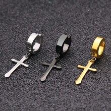 Brinco de aço inoxidável, clipe em brincos não piercing para mulheres e homens, cor preta e dourada, cruz, gótico, punk, rock, gota, falsos 1 par de par